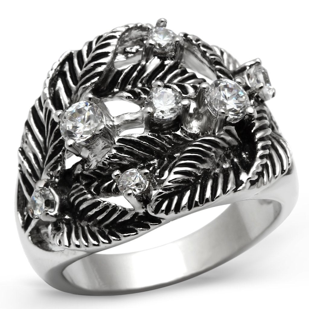 3W211 - Rhodium Brass Ring with AAA Grade CZ  in Clear