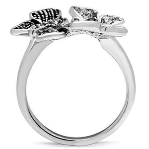 3W214 Rhodium Brass Ring with AAA Grade CZ in Clear
