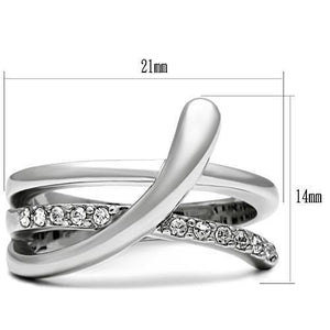 3W216 - Rhodium Brass Ring with Top Grade Crystal  in Clear