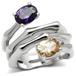 3W224 - Rhodium Brass Ring with AAA Grade CZ  in Multi Color
