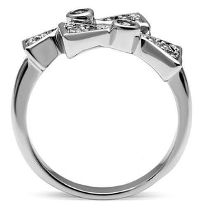 3W225 - Rhodium Brass Ring with AAA Grade CZ  in Clear
