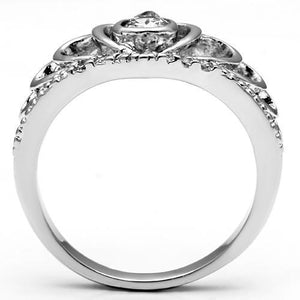 3W229 - Rhodium Brass Ring with AAA Grade CZ  in Clear