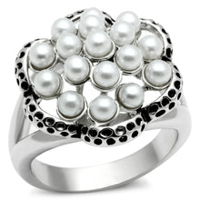 Load image into Gallery viewer, 3W232 - Rhodium Brass Ring with Synthetic Pearl in White