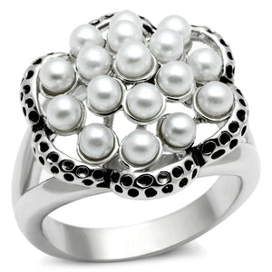 3W232 - Rhodium Brass Ring with Synthetic Pearl in White