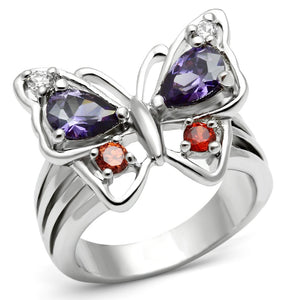 3W233 - Rhodium Brass Ring with AAA Grade CZ  in Multi Color