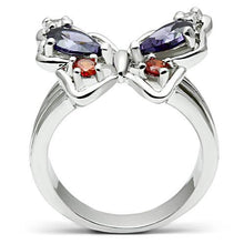 Load image into Gallery viewer, 3W233 - Rhodium Brass Ring with AAA Grade CZ  in Multi Color