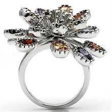 Load image into Gallery viewer, 3W251 - Rhodium Brass Ring with AAA Grade CZ  in Multi Color