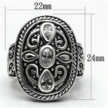 Load image into Gallery viewer, 3W252 - Rhodium Brass Ring with AAA Grade CZ  in Clear