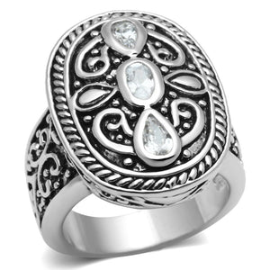 3W252 - Rhodium Brass Ring with AAA Grade CZ  in Clear