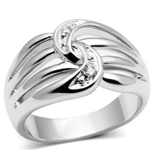 Load image into Gallery viewer, 3W272 - Rhodium Brass Ring with AAA Grade CZ  in Clear