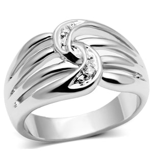 3W272 - Rhodium Brass Ring with AAA Grade CZ  in Clear