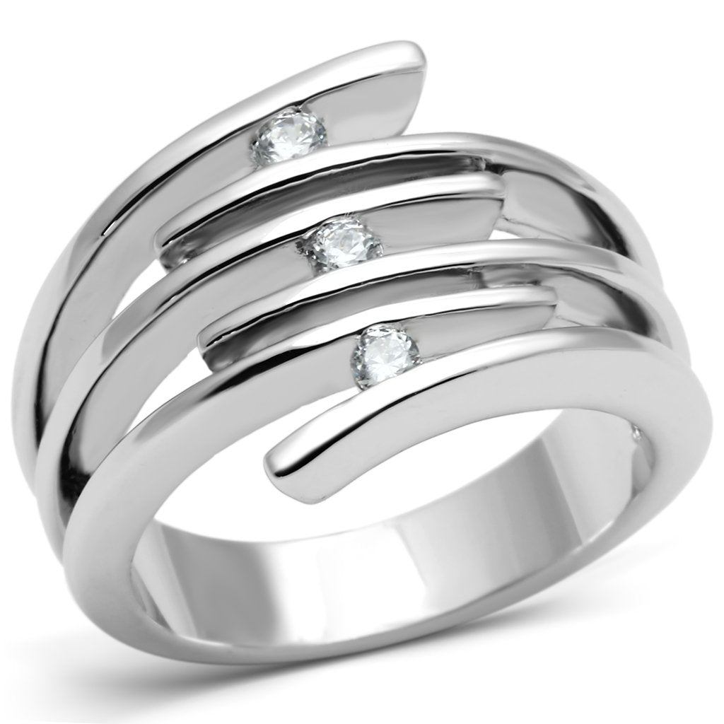 3W285 - Rhodium Brass Ring with AAA Grade CZ  in Clear