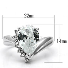 Load image into Gallery viewer, 3W292 - Rhodium Brass Ring with AAA Grade CZ  in Clear
