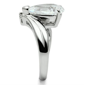 3W292 - Rhodium Brass Ring with AAA Grade CZ  in Clear