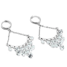 Load image into Gallery viewer, 3W300 - Rhodium Brass Earrings with AAA Grade CZ  in Clear