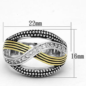 3W305 - Reverse Two-Tone Brass Ring with AAA Grade CZ  in Clear