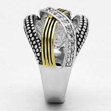 Load image into Gallery viewer, 3W305 - Reverse Two-Tone Brass Ring with AAA Grade CZ  in Clear