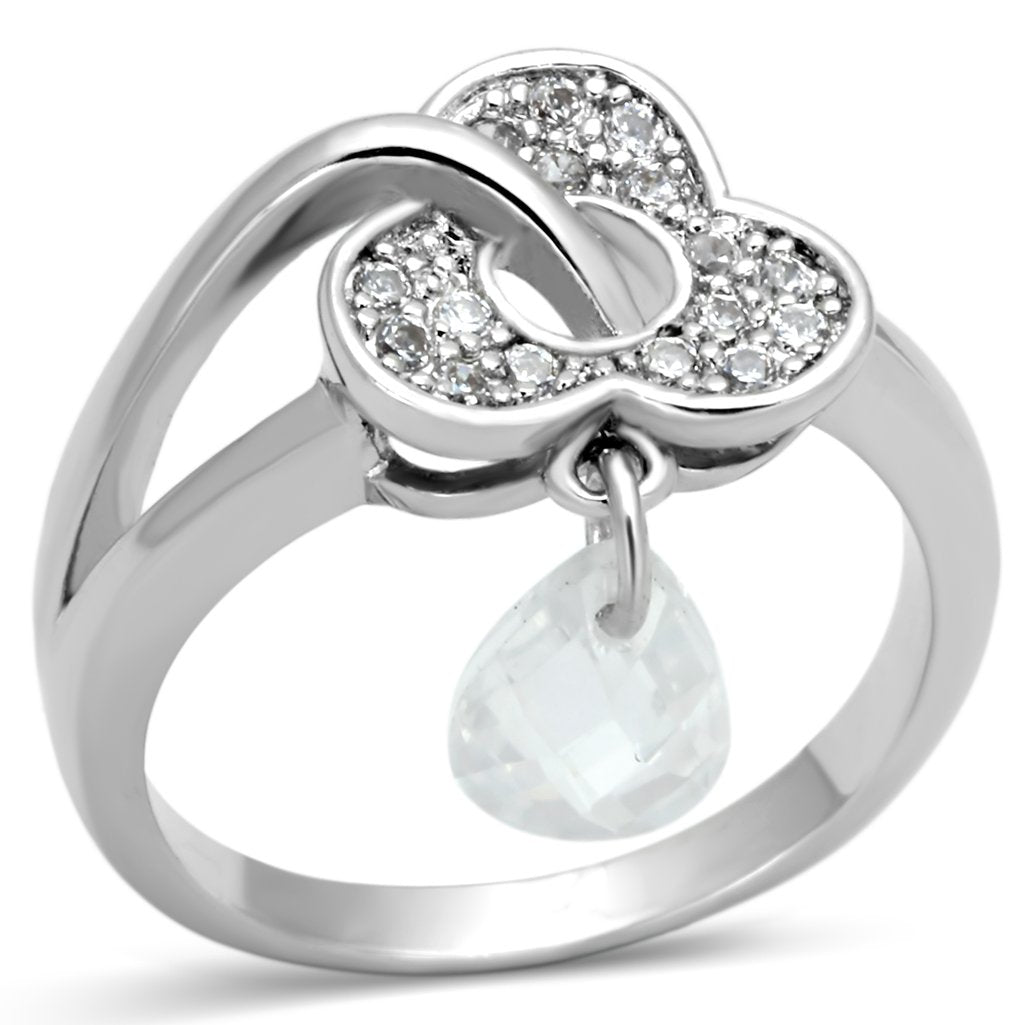 3W312 - Rhodium Brass Ring with AAA Grade CZ  in Clear
