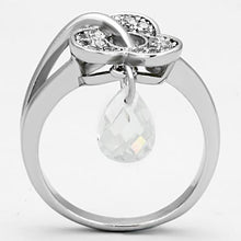 Load image into Gallery viewer, 3W312 - Rhodium Brass Ring with AAA Grade CZ  in Clear