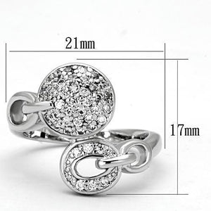 3W321 - Rhodium Brass Ring with AAA Grade CZ  in Clear