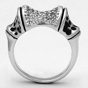 3W324 - Rhodium Brass Ring with AAA Grade CZ  in Clear