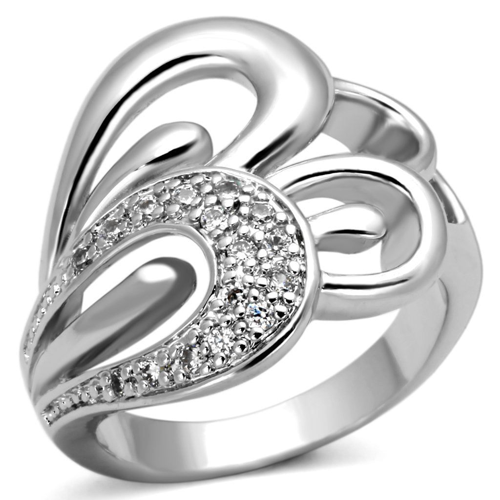 3W325 - Rhodium Brass Ring with AAA Grade CZ  in Clear
