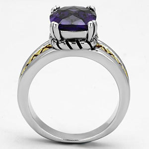 3W331 - Reverse Two-Tone Brass Ring with AAA Grade CZ  in Amethyst