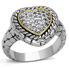 Load image into Gallery viewer, 3W333 - Reverse Two-Tone Brass Ring with AAA Grade CZ  in Clear