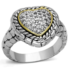 3W333 - Reverse Two-Tone Brass Ring with AAA Grade CZ  in Clear