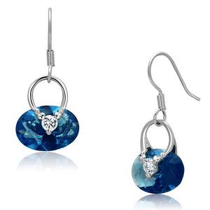 3W338 - Rhodium Brass Earrings with Synthetic Synthetic Glass in Sea Blue