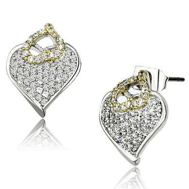 3W356 - Reverse Two-Tone Brass Earrings with AAA Grade CZ  in Clear
