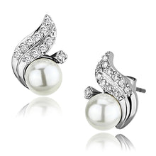 Load image into Gallery viewer, 3W365 - Rhodium Brass Earrings with Synthetic Pearl in White