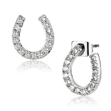3W371 Rhodium Brass Earrings with AAA Grade CZ in Clear