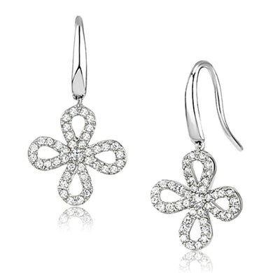 3W382 - Rhodium Brass Earrings with AAA Grade CZ  in Clear