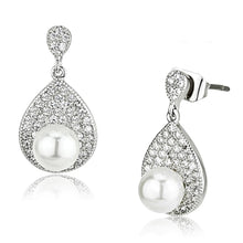 Load image into Gallery viewer, 3W384 - Rhodium Brass Earrings with Synthetic Pearl in White