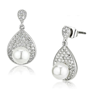 3W384 - Rhodium Brass Earrings with Synthetic Pearl in White
