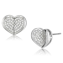 Load image into Gallery viewer, 3W389 - Rhodium Brass Earrings with AAA Grade CZ  in Clear