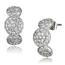 Load image into Gallery viewer, 3W390 - Rhodium Brass Earrings with AAA Grade CZ  in Clear