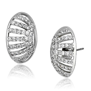 3W393 - Rhodium Brass Earrings with AAA Grade CZ  in Clear