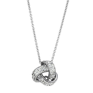 3W408 - Rhodium Brass Necklace with Top Grade Crystal  in Clear