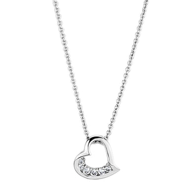 3W410 Rhodium Brass Necklace with AAA Grade CZ in Clear