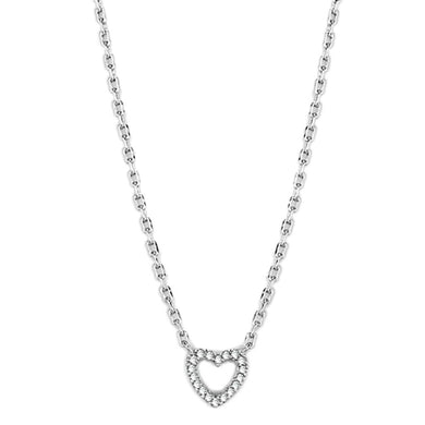 3W413 Rhodium Brass Necklace with AAA Grade CZ in Clear