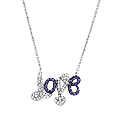 3W414 Rhodium + Ruthenium Brass Necklace with AAA Grade CZ in Amethyst