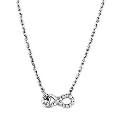 3W418 Rhodium Brass Necklace with AAA Grade CZ in Clear