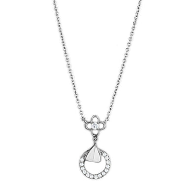 3W419 Rhodium Brass Necklace with AAA Grade CZ in Clear