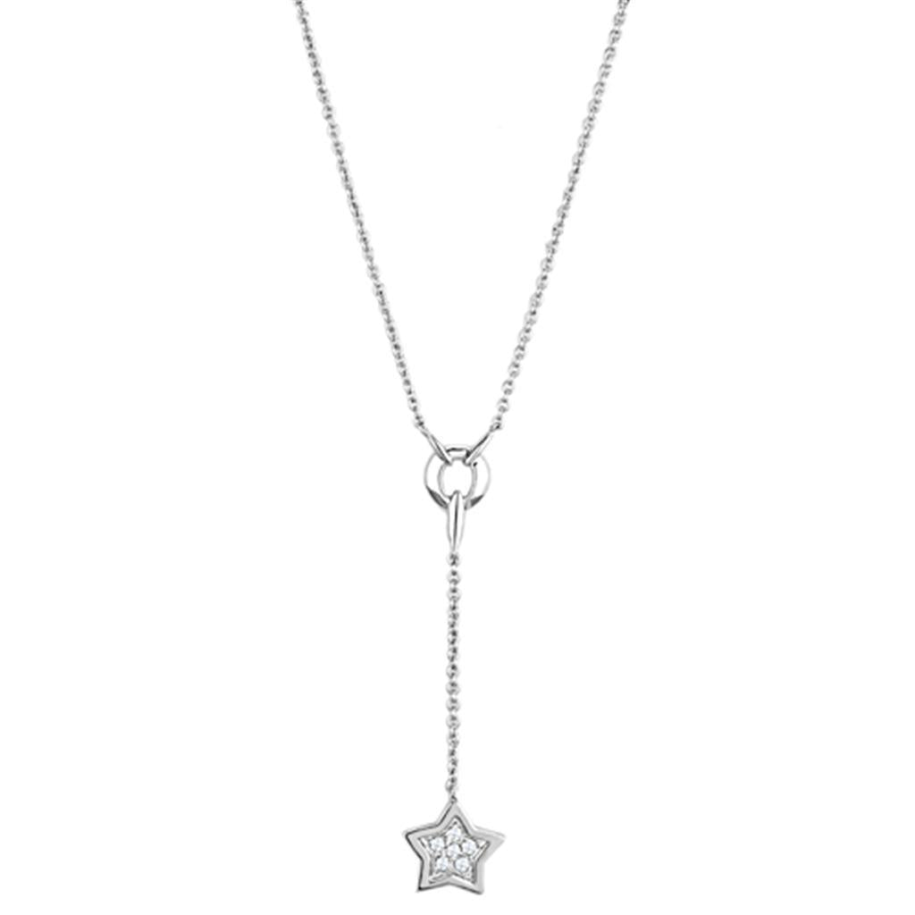 3W426 - Rhodium Brass Necklace with AAA Grade CZ  in Clear