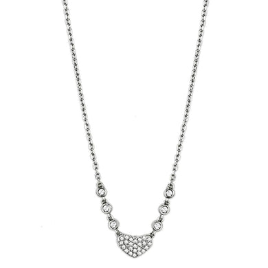 3W433 Rhodium Brass Necklace with AAA Grade CZ in Clear