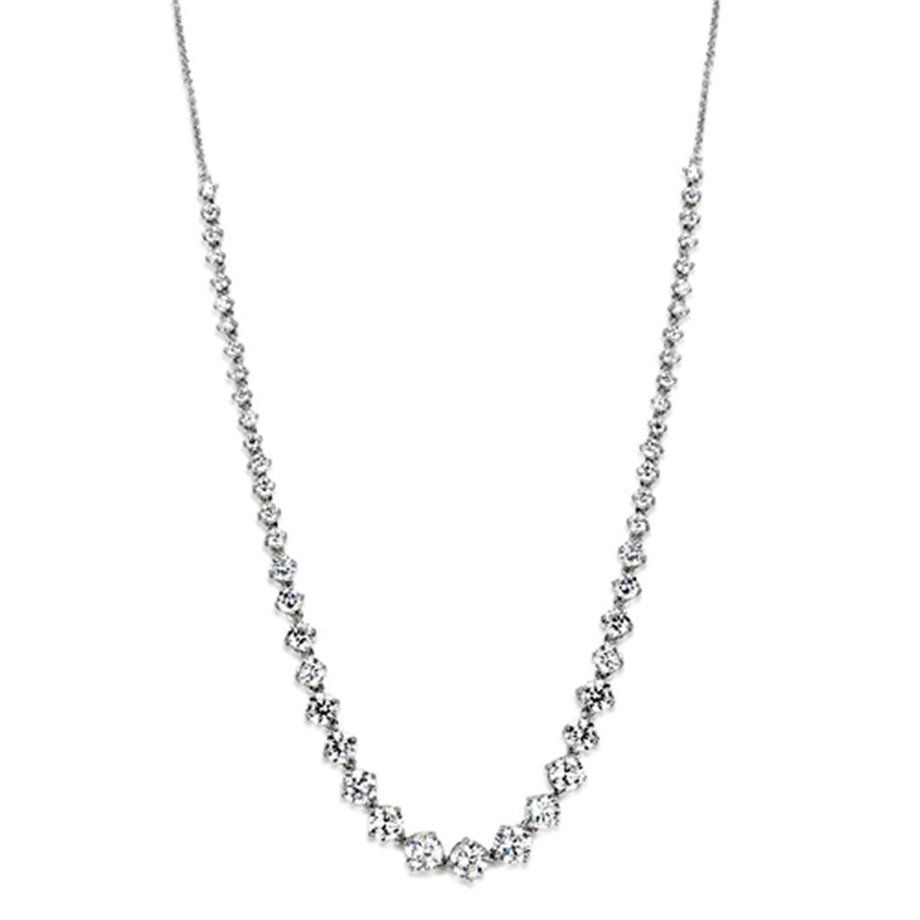 3W440 - Rhodium Brass Necklace with AAA Grade CZ  in Clear