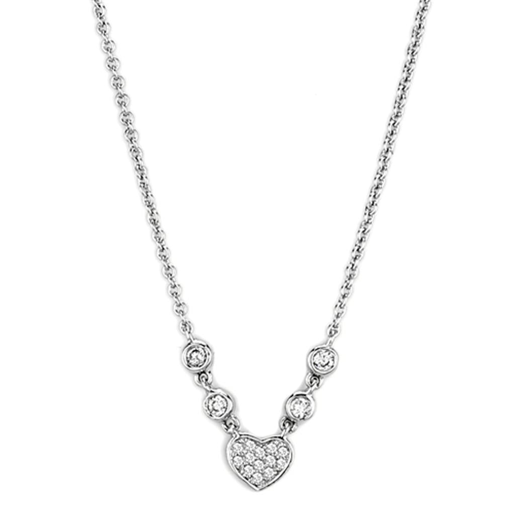 3W449 - Rhodium Brass Necklace with AAA Grade CZ  in Clear