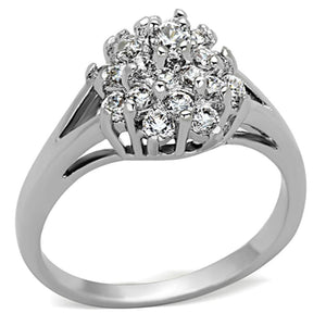 3W479 - Rhodium Brass Ring with AAA Grade CZ  in Clear